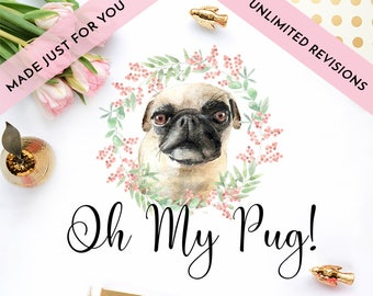 CUSTOM PET watercolor logo design illustration made just for you with vector logo and UNLIMITED revisions