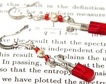 Statement Jewelry Ideas Gift Wearable Tech Techie Steampunk Earrings Red LED Electronic Earrings Upcycled Computer Earrings Sterling Silver