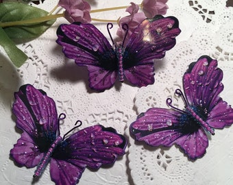 Purple Petals Fuchsia Beaded Body Butterflies DarlingArtByValeri Scrapbooking Embellishment Mini Albums Cards Hair odornments