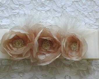 Wedding Dress Sash, Cream Floral Wedding Sash, Bridal Sash, Country Wedding Sash, Maternity sash, Baby Sash, Cream Ivory Floral Sash Belt
