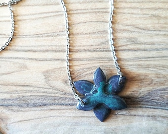 Grey and Teal Flower watercolour and resin pendant necklace