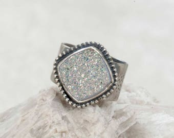 White Rainbow Druzy Ring in Sterling Silver Wide Band Size 7.5