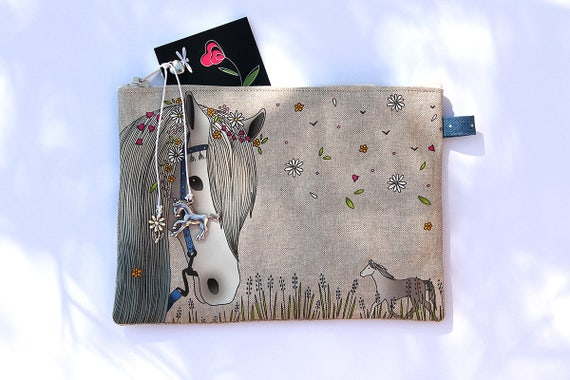"""""""Bohemian white horse"""" illustrated natural linen pouch"""