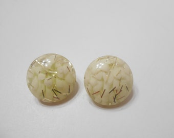 Vintage Lucite & Gold Tone Sparkles Clip Earrings (1539)