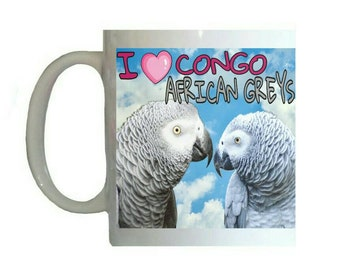 I Love Congo African Greys Grey Parrots Parrot Blue Sky Clouds White 11oz Ceramic Coffee Mug