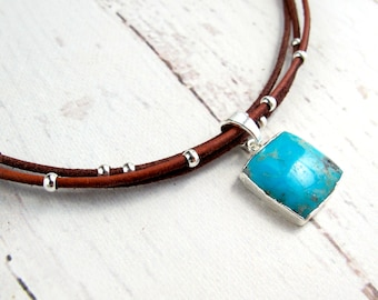 Leather Chokers and Turquoise-Leather Chokers For Women-Choker Necklace with Stone-Leather Choker Necklace-Turquoise and Silver Necklace