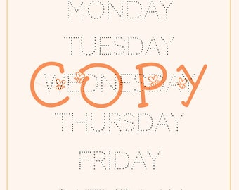 Learn to write - days of the week