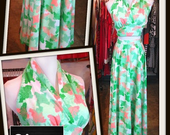 Vintage Green Peach Abstract Print Long Maxi High Waist Skirt Matching Halter Top Set 1970s FREE SHIPPING Festival