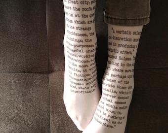 New! Sherlock Holmes Socks, Opaque Printed Knee High  , Poetry Nylon Socks, Text Stockings