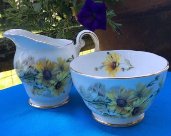 REDUCED:  Vintage Royal Standard Creamer and Open Sugar Bowl - Brown Eyed Susan - Fine Bone China, Made in England