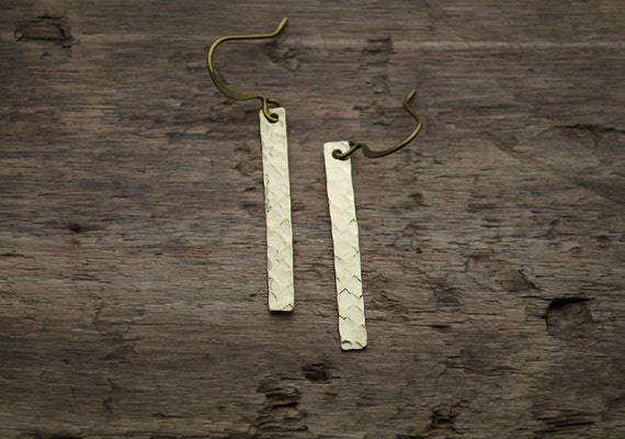 Brass Bar Earrings - Hand Forged Metal Bar | Hammered Golden Brass Bar | Lightweight Stick Earrings | Simple Everyday Jewelry | Rustic
