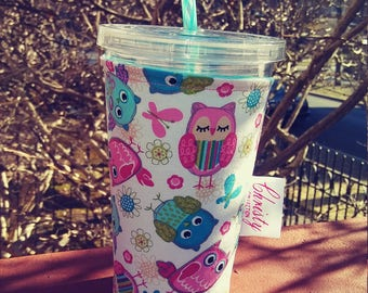 Owls Iced Coffee Cozy // Cup Cozy