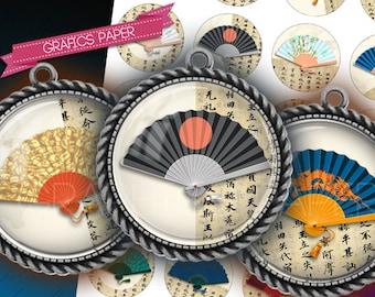 "Digital Collage Sheet, Circles, Bottle Caps 1.5"", 1.25"", 30mm, 1 inch Chinese Fans - digital collage sheet - td306 - Instant Download"