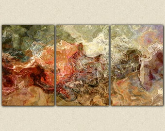 "Extra large abstract art canvas print triptych, 40x78 giclee on stretched canvas, in earth colors, from abstract painting ""Firestarter"""