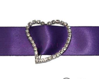 25mm Diamante Heart Ribbon Buckle - Wedding Anniversary Decoration Cake