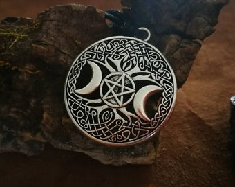 Celtic wicca pendant with Tree of life, triple Moon and Pentacle, witchcraft