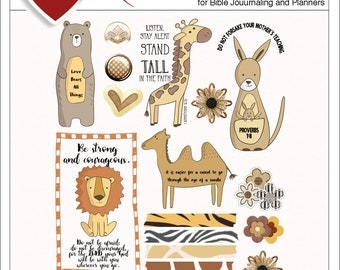 Bible Journaling Animals BOTH: Printable & Digital Bible Journal Kits. (Print PDF on Sticker or Copy Paper OR use in Photoshop Elements)