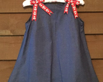 Navy Girls Dress with Red Anchor Trim