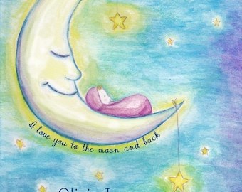 Moon and Baby Customized Watercolor Print