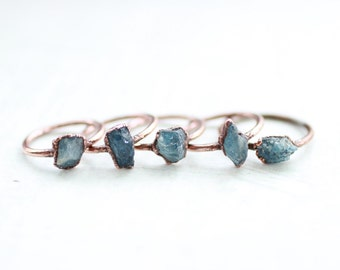 Raw Aquamarine Ring Electroformed Ring Copper Ring