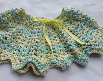 Crocheted Poncho, Child Poncho, Toddle Poncho, Cotton Poncho,  Shells and Picot poncho, Toddle Shawl,  Child Caplet, Green Crochetengranny