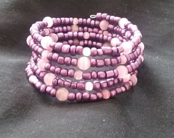Purple and Opaque Pink Memory Wire Bracelet, Memory Wire Bracelet, Purple Beaded Jewelry, Purple Bracelet, Beaded Bracelet
