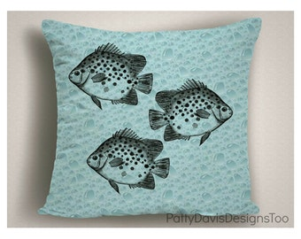 Coastal Pillows with Fish and Bubbles, Beach Decor, Coastal Pillow Covers, Beach Pillows, Nautical Decor, Beach Throw Pillows