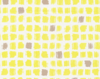 "CLEARANCE Yardage, Cloud9 Pocket Patch Yellow ""Around the Block"" by Skinny LaMinx  Organic Quilting Cotton"