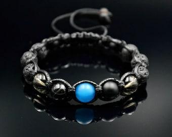 Men's Lava Stone Bracelet Shamballa Bracelet Beaded Bracelet Gemstone Bracelet Agate Bracelet Macrame Bracelet Gift for Men Stone Bracelet
