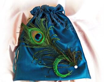 Teal peacock feather drawstring bag | peacock wedding money dance bag | bridal something blue
