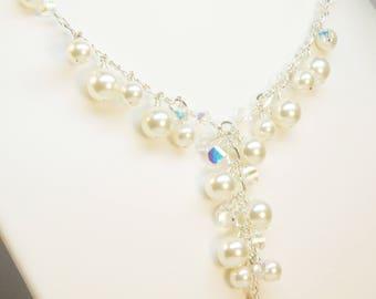 Bridal Ivory Pearl Necklace, Bride Y Drop Necklace, White Pearl Wedding Necklace, Swarovski Crystals, Sterling Silver, Pearl Wedding Jewelry