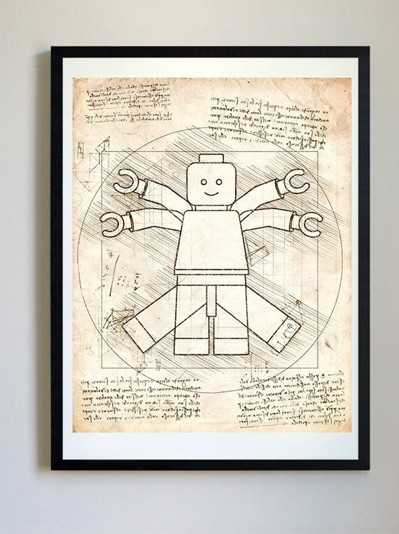 Vitruvian lego man da vinci sketch blueprint patent prints malvernweather Choice Image
