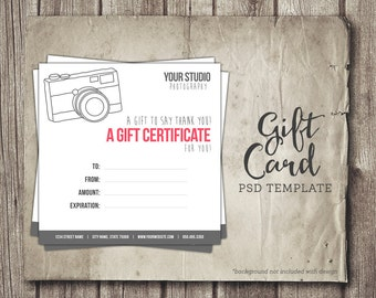 photography gift card template digital gift certificate photoshop template camera gift card certificate instant download