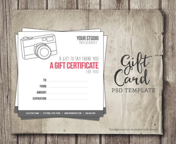 Photography gift card template digital gift certificate yelopaper Gallery