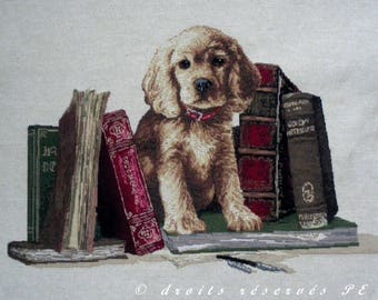 Coupon fabric Panel tapestry puppy in the library