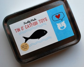 Tin of Catnip Filled Fish - 3 Cat Toys made with upcycled materials - Set - Feline Fun - Organic Catnip - recycled