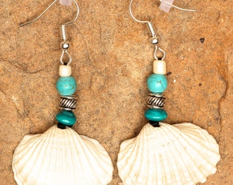 White seashell earrings with turquoise and silver beads