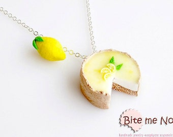 SCENTED Lemon Pie and Lemon Necklace Mini Food Jewelry, Miniature Food, Polymer Clay Charms, Food Jewelry, Kawaii Jewelry