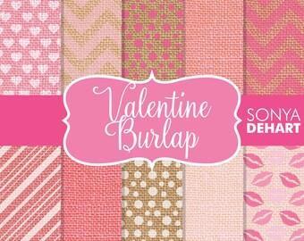 80% OFF SALE Valentine Burlap Digital Paper Linen Jute Fabric Textures DP135