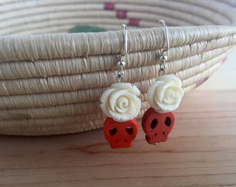 CLEARANCE!  All sales final! Bright orange sugar skull earrings with large white flower accents; Orange and white skull earrings in silver