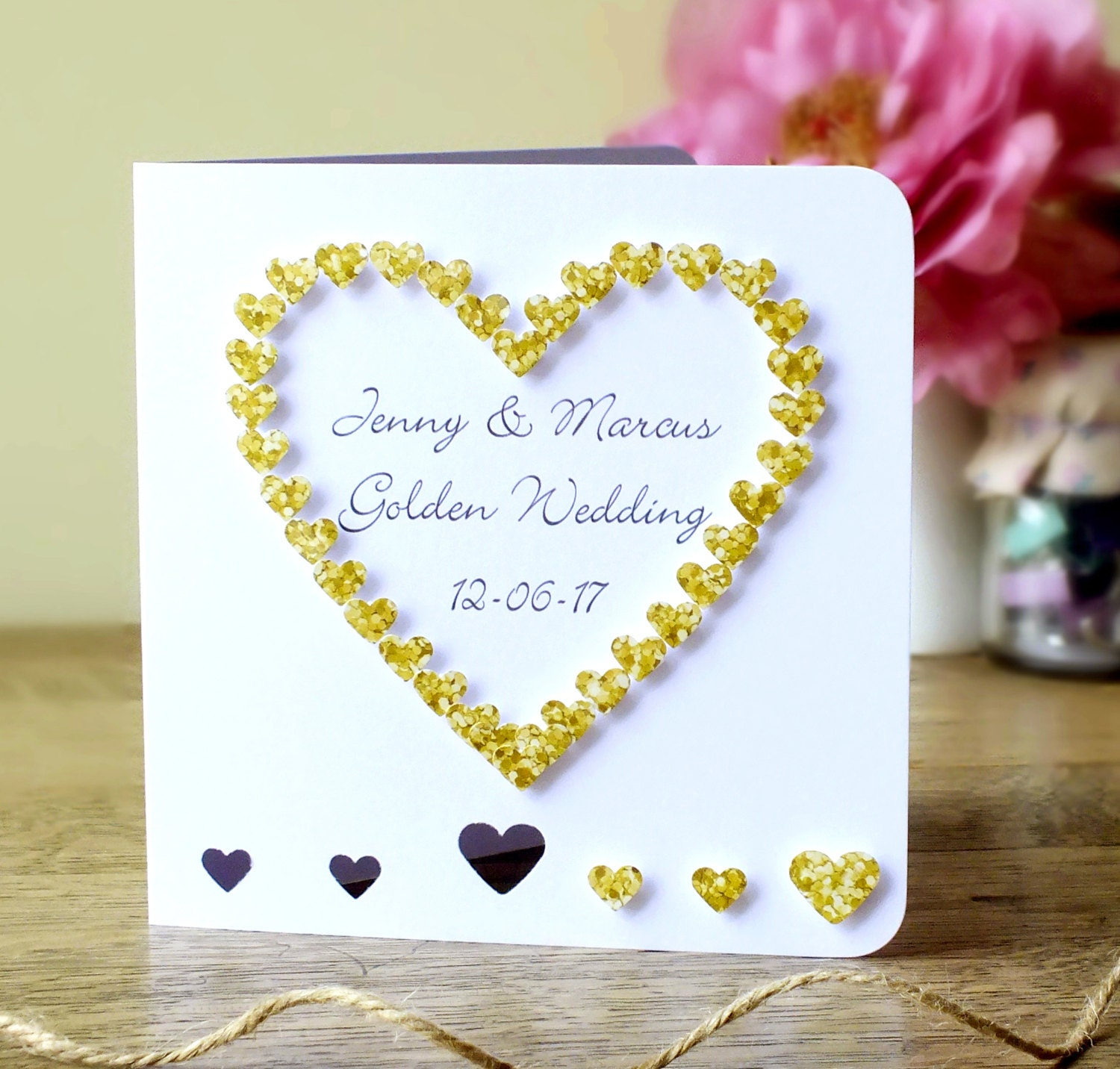Handmade 50th Golden Wedding Anniversary Card 50th Wedding