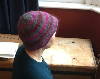 Knitted felted beanie hat, generous medium, proceeds to charity
