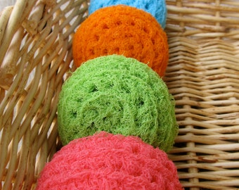 Set of 4- Bright Nylon Net Scrubbies