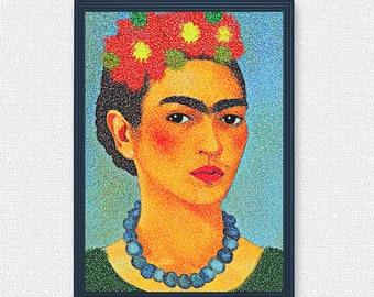 Self Portrait of Frida Kahlo in the style of puntualism | Mexican Art Paintings Artists | Frida Kahlo digital art print