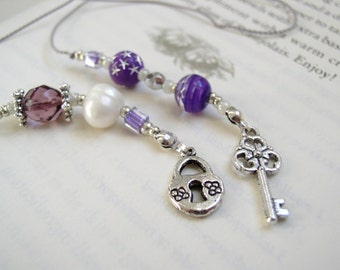 BEADED BOOKMARK - Skeleton Key Elegant Bookmark - Book Thong in Purple, Silver, and Pearl Beads with Tibetan Silver Charms