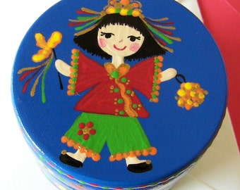 Hand Painted Love Boxes China Baby Box Blue Wood