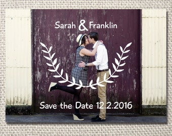 Sweet wreath save the date printable invite - with photo