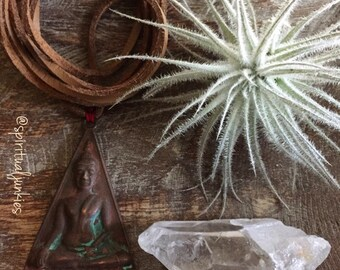 Vegan Leather + Thai Buddha | Triangle | Patina | Adjustable Choker Necklace | Reiki Love Infused | Spiritual Junkies | Yoga + Meditation