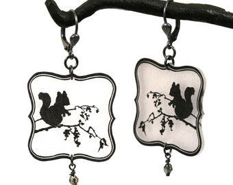 Black and White Squirrel Silhouette Dangle Earrings