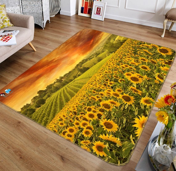 Non-Slip 3D Sunflower Area Rug by AJWALLPAPERS